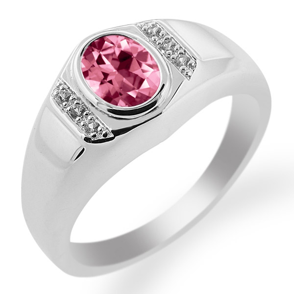 925 Sterling Silver Ring Created Sapphire Set with Pink Topaz from Swarvoski by