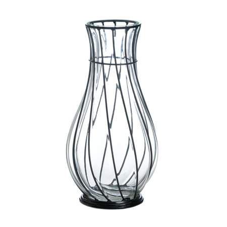 Glass Vases Short Metal Accent Decorative Home Centerpiece Modern
