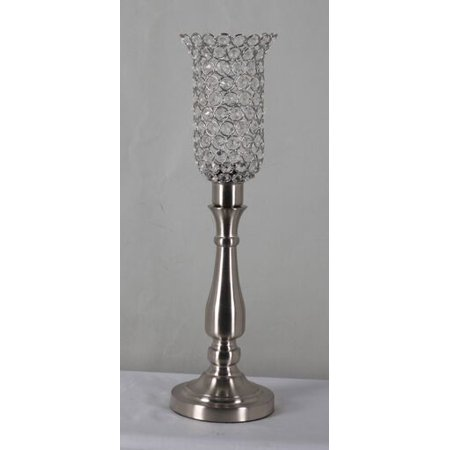 Home Source Diana Table Lamp with Beaded Lamp Shade, Chrome -