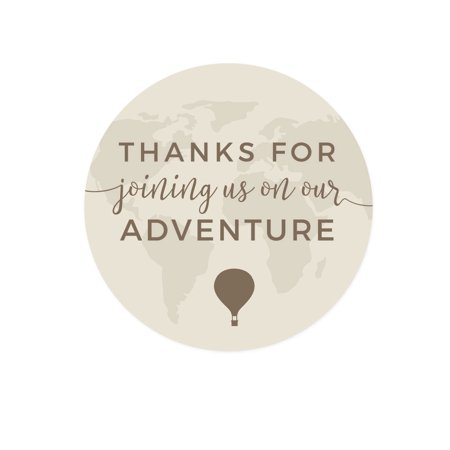 - Hot Air Balloon World Map, Vintage Tan Brown, Round Circle Stickers, Thank You for Joining Us on Our Adventure, 40-Pack