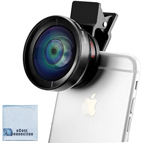 2-in-1 Professional Universal Smartphone HD Camera Lens Kit (Super Wide Angle & Macro Lens) for Most Modern Smartphones + eCostConnection Microfiber Cloth