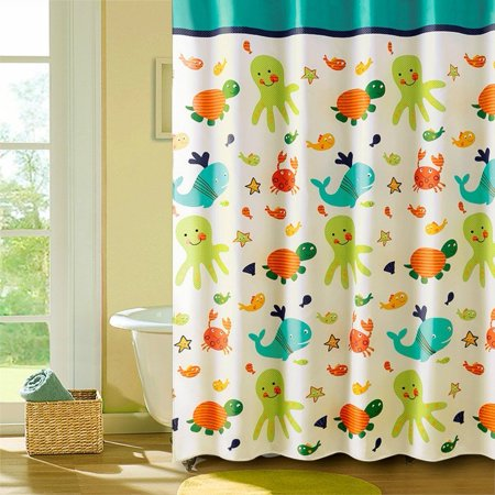 Popeven Coral Reef Shower Curtain With Hooks 72x72 Inches