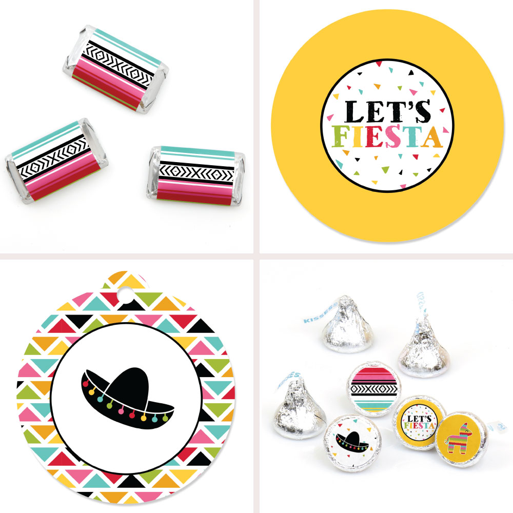 Let's Fiesta - Mexican Fiesta Decorations Favor Kit - Party Stickers & Tags - 172 pcs