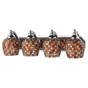 Mix and Match Vanity 4-Light Wall Lamp in Chrome with Multi-colored Glass