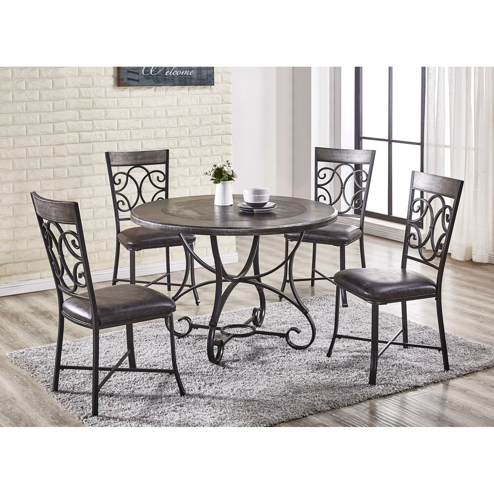 Steve Silver Co. Greystone 5 Piece Round Dining Set