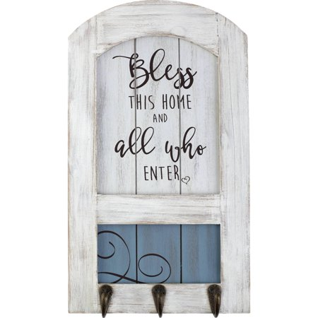 Hook Sign (Precious Moments Farmhouse Decor Bless This Home Wood/Metal Wall Plaque With Three Hooks 189915)