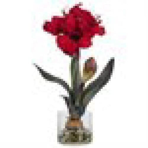 Nearly Natural Amaryllis with Round Vase