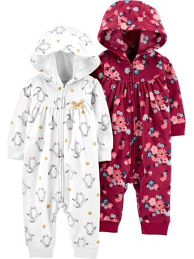 Child of Mine by Carter's Baby Girl Long Sleeve Hooded 1 Piece Footless Outfit, 2 pack