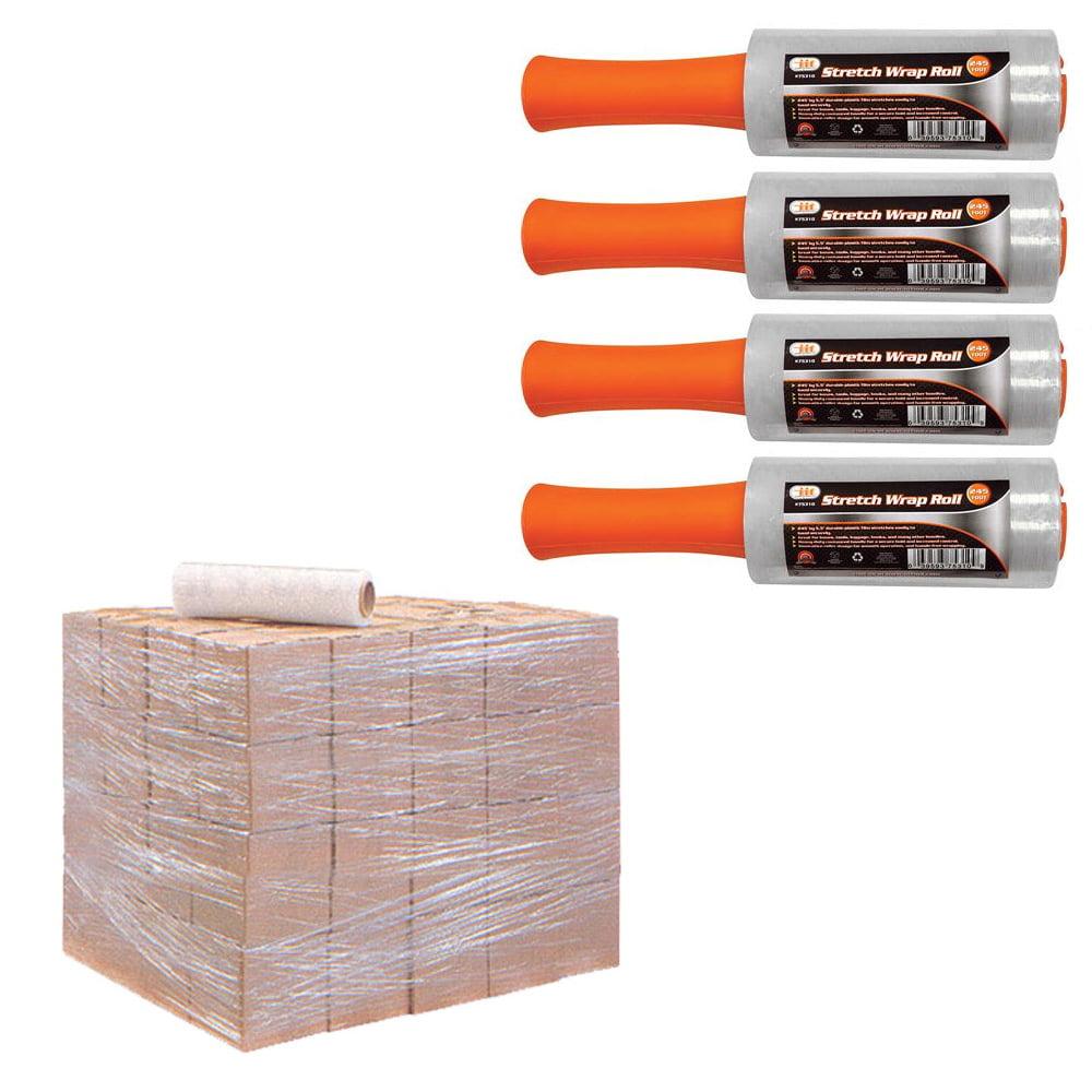 "4 Rolls Stretch Plastic Wrap Shrink Film Banding Packing Dispenser 5.5"" x 250' !"