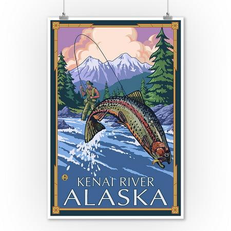 Kenai River, Alaska - Angler Fly Fishing Scene (Leaping Trout) - Lantern Press Artwork (9x12 Art Print, Wall Decor Travel (Best Time To Fly To Alaska)