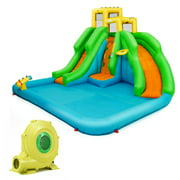 Gymax Kids Inflatable Water Park Bounce House 2 Slide w/Climbing Wall
