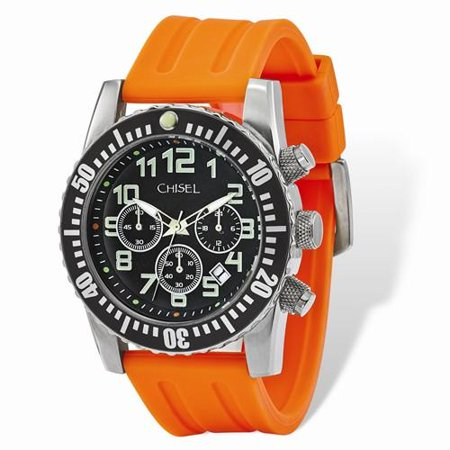e15ac61bd Chisel - Mens Chisel Black Dial Orange Silicone Chronograph Watch ...