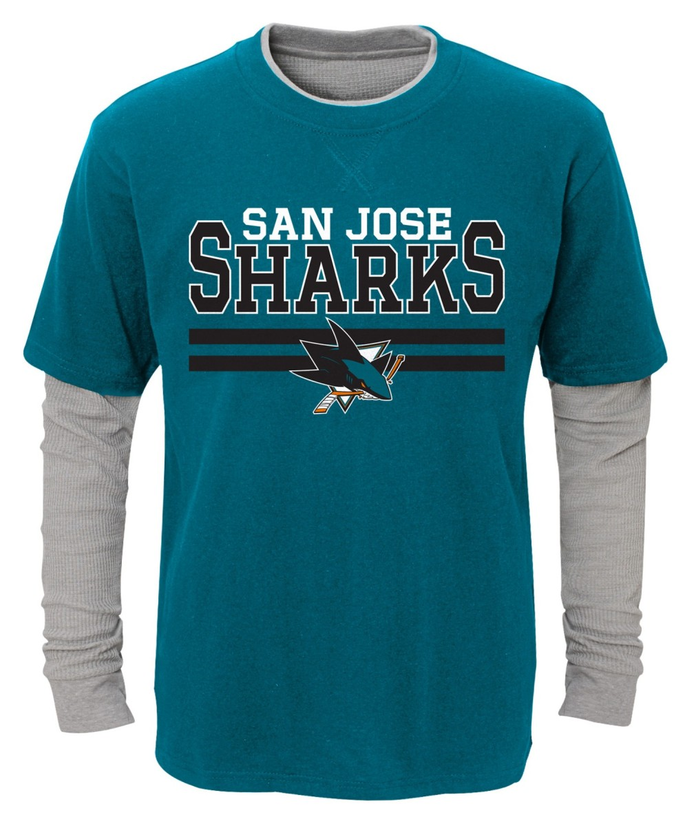"San Jose Sharks Youth NHL ""Defensive Pair"" L S Faux Layer Thermal Shirt by Outerstuff"
