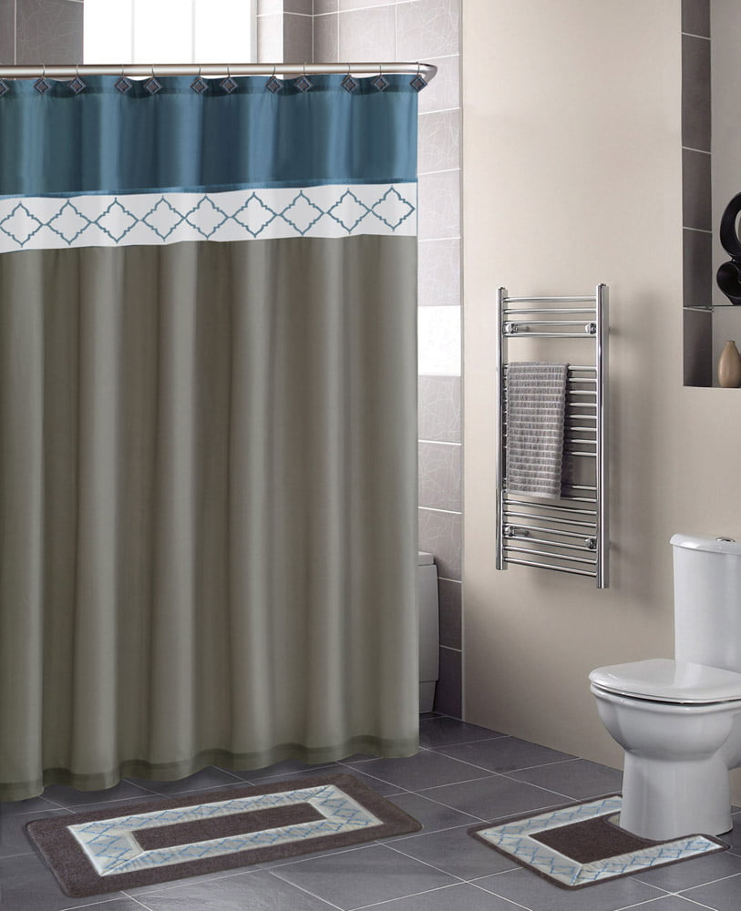 Home Dynamix Designer Bath Shower Curtain And Rug Set DB15D 329 Diamond Blue Beige 15 Piece