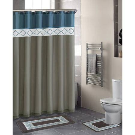 Home Dynamix Designer Bath Shower Curtain And Rug Set DB15D 329 Diamond Blue