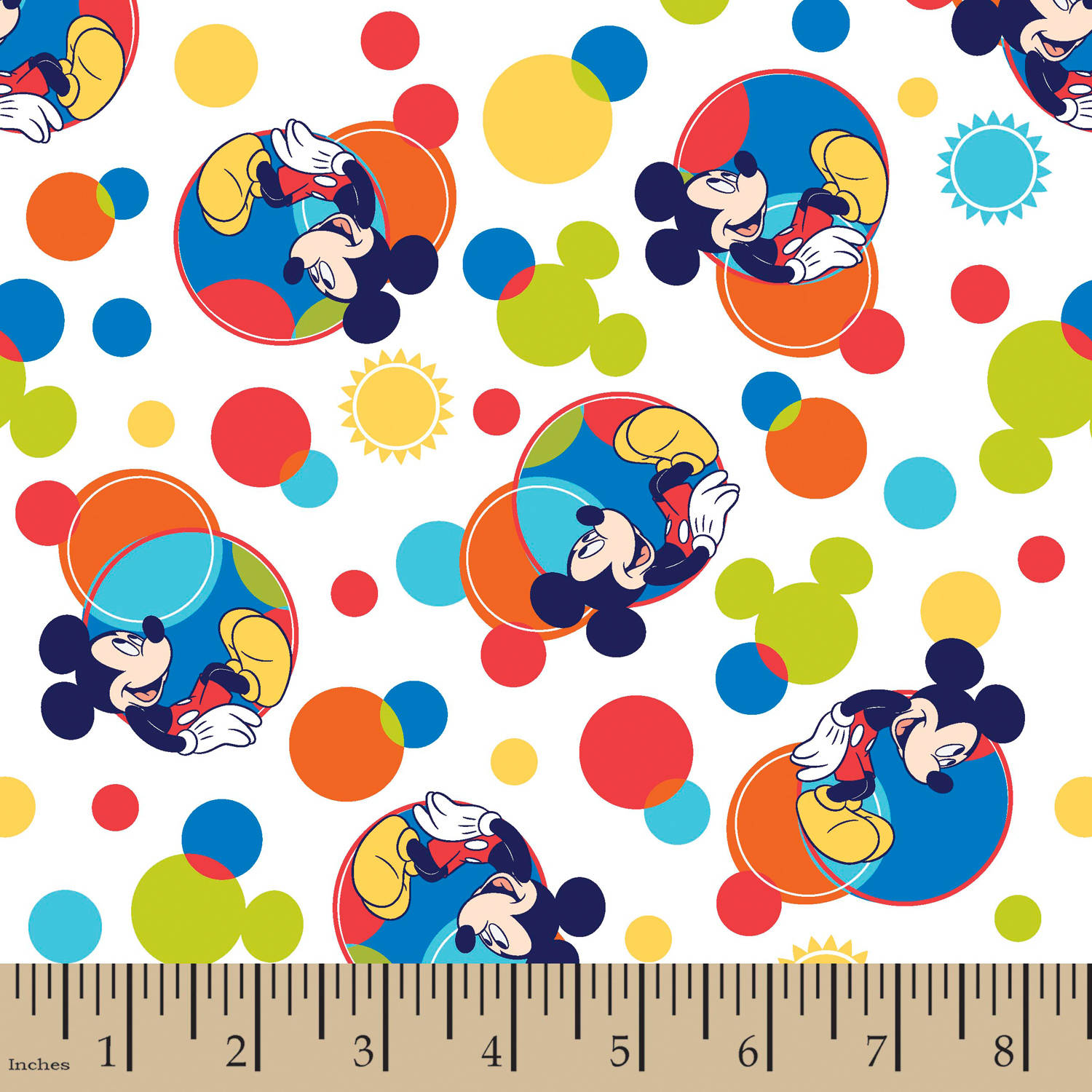 "Disney Mickey Spectrum, Flannel, Multi-Colored, 42/43"" Width, Fabric by the Yard"