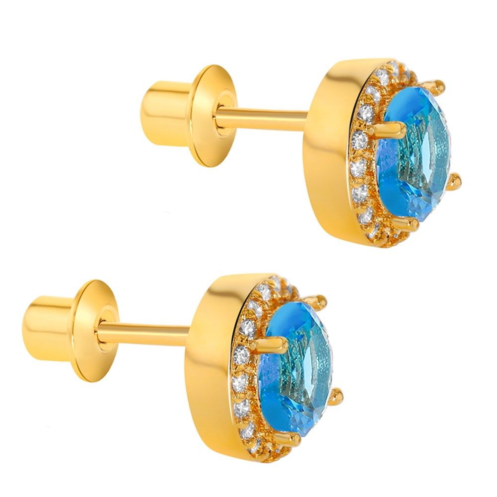 18k Gold Plated Blue Crystal Round Screw Back Earrings for Women 8mm - image 3 de 4