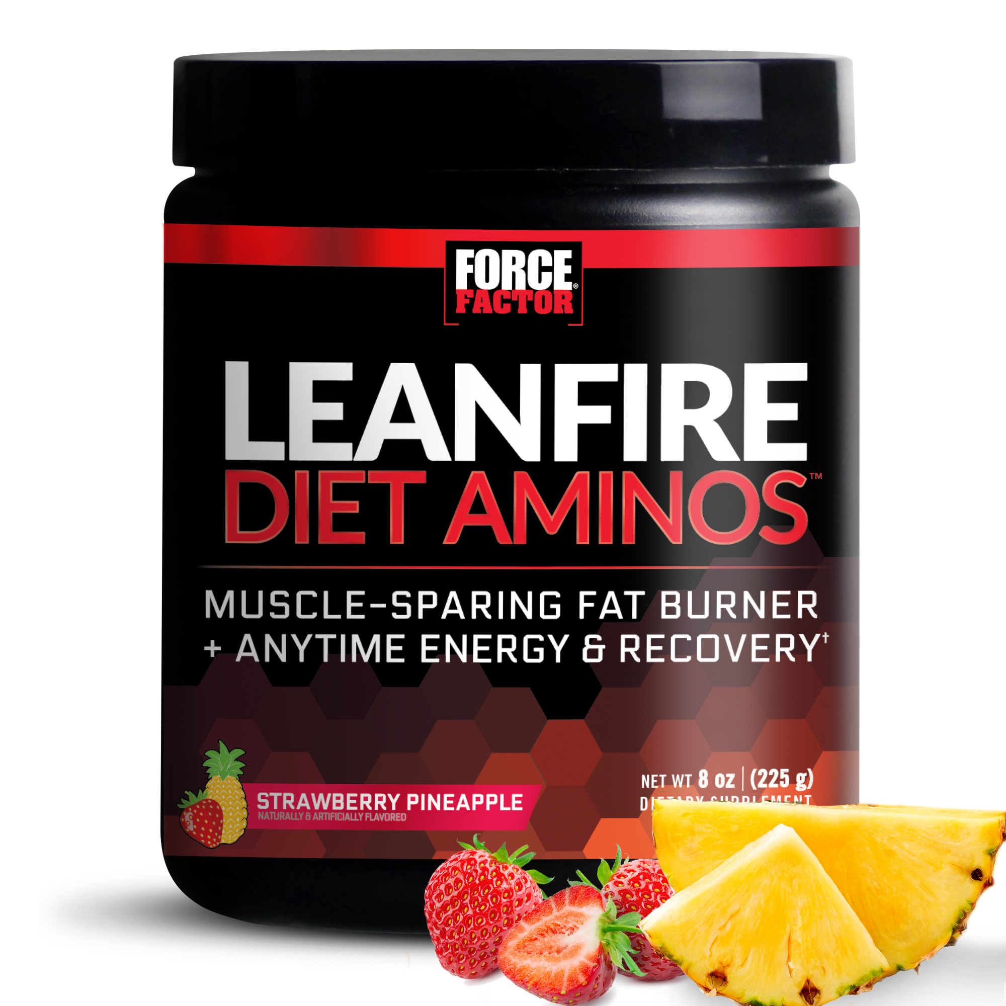 Force Factor LeanFire Diet Aminos Powder, Strawberry Pineapple, 45 Servings