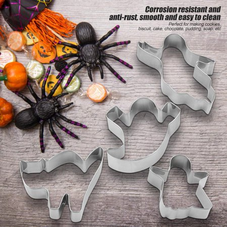 Tbest 4Pcs/Set Stainless Steel Cake Cookies Mold Interesting Halloween Desserts Pastry Baking Tools, Cookie Mold, Biscuit Mould - Halloween Cookie Cakes