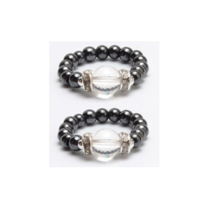 2 PC. Clear Stone Hematite Magnetic Rings