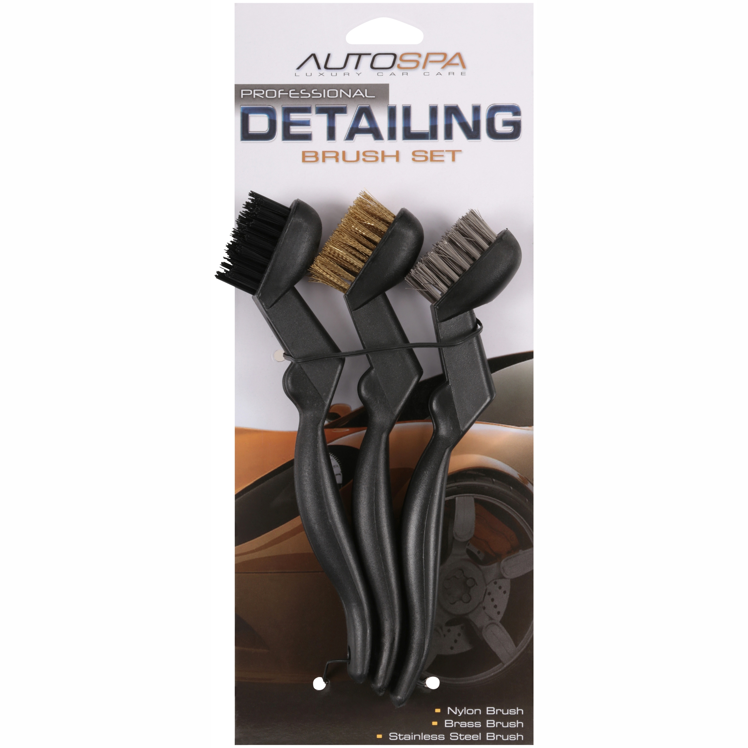 AutoSpa Professional Detailing Brush Set 3 pc Pack