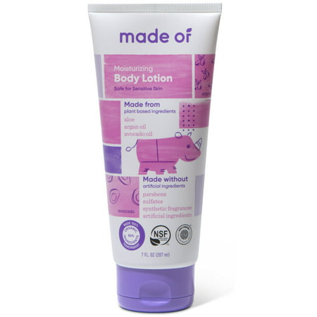 MADE OF Moisturizing Organic Baby Body Lotion - NSF Organic Certified - EWG Verified - 100% Natural NON GMO - Gluten Free - Vegan Certified - 7 oz (Fragrance Free) ()