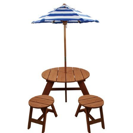 Surprising Homeware Brown Wood Kids Round Umbrella Table And Stools 3 Piece Set Umbrella Included Durable For Outdoor Use Picnic Creativecarmelina Interior Chair Design Creativecarmelinacom