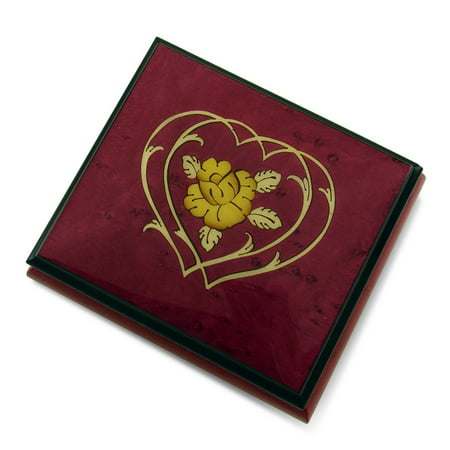 Charming Red Wine Double Heart and Flower Sorrento Inlaid Music Box - A Whole New