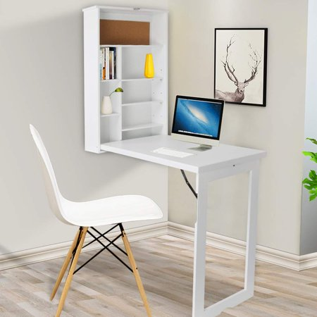 new arrival 58792 fc52c Compact Fold Out Wall Mounted Convertible Desk Computer Desks,Folding  Desk,Writing Desk With Storage - White