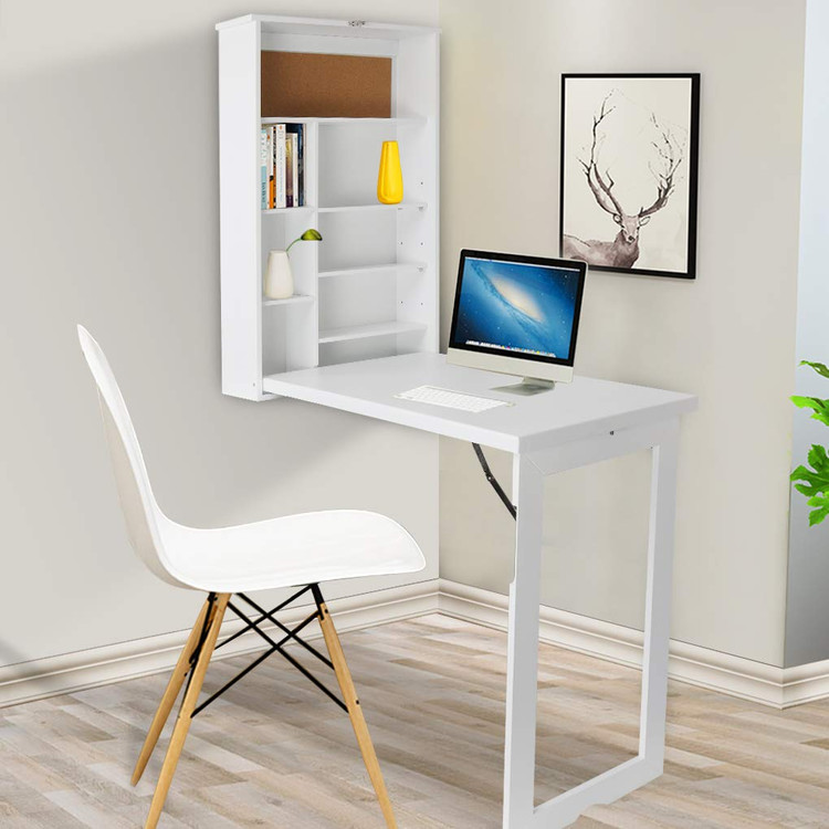 Beau Compact Fold Out Wall Mounted Convertible Desk Computer Desks,Folding Desk,Writing  Desk With Storage   White   Walmart.com