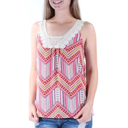 MISS CHIEVOUS Womens Orange Eyelet Chevron Sleeveless Scoop Neck Vest Top  Size: S