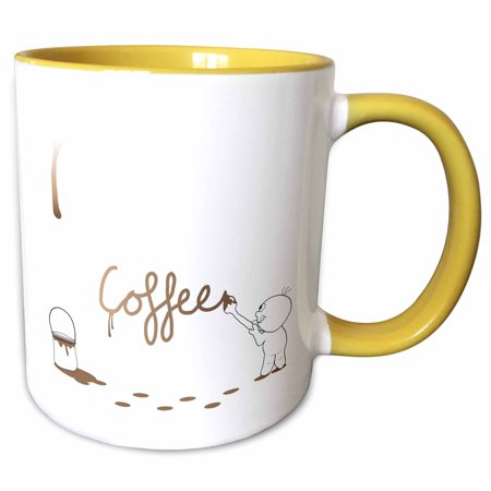 3dRose Cute Drip Guy Writing Coffee with Brush and Fake Drop of Brown Coffee Paint - cool faux stain - Two Tone Yellow Mug, 11-ounce