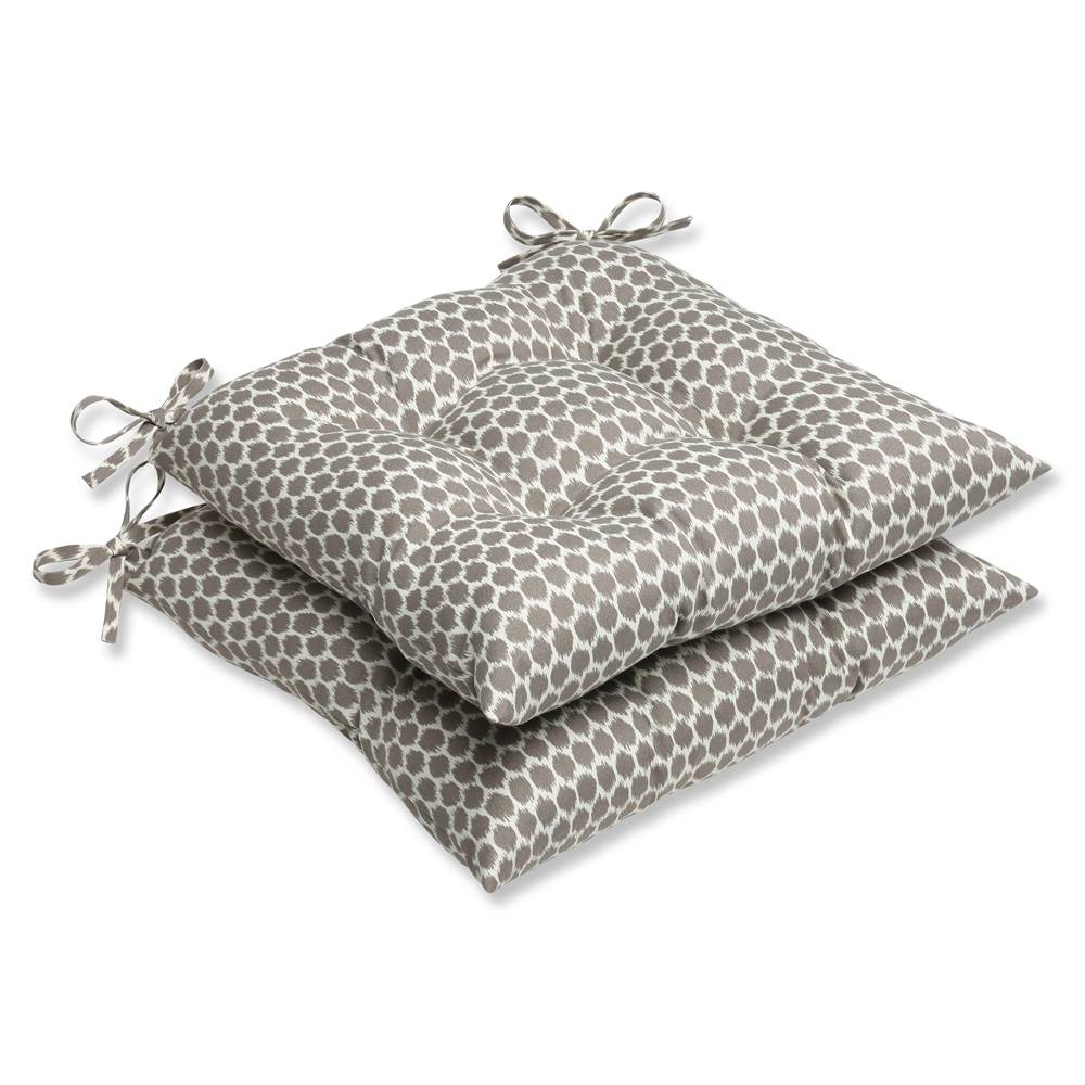 Pillow Perfect Outdoor/ Indoor Seeing Spots Sterling Wrought Iron Seat Cushion (Set of 2)