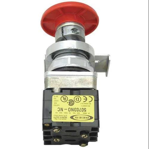 REES 40102-122 Emergency Stop Push Button,Delrin,Red G9999394