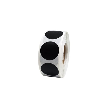Black Circle Dot Stickers, 0.75 Inch Round, 500 Labels on a Roll