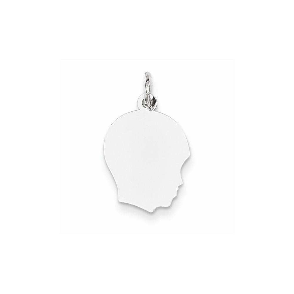 14k White Gold Plain Medium Facing Right Engravable Boy Charm Pendant