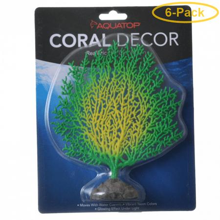Aquatop Silicone Coral Branch Aquarium Ornament - Green/Yellow 1 Pack - (1.5L x 7W x 6H) - Pack of 6 ()