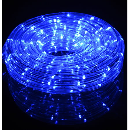 Fantado Blue Outdoor LED Fairy String Rope Light, 33 FT, Clear Tube, AC Plug-In by PaperLanternStore