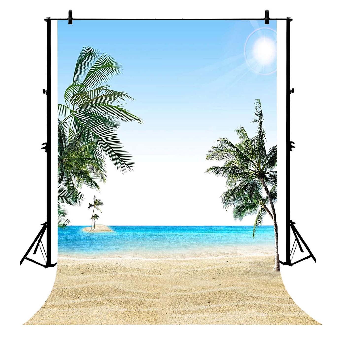 GCKG 7x5ft Beach Sea Island Coconut Trees Summer Polyester Photography Backdrop Photography Props Studio Photo Booth Props - image 4 of 4
