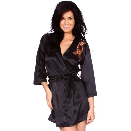 6e0416ed1 BASILICA - Women s Black Sexy Sheer Lace Kimono Bath Robe - 2 PC Lingerie
