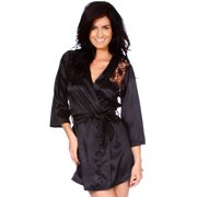 Sexy Robe Black Kimono Intimate Lace Sleepwear - 2 Piece Lingerie Set 56672e0661