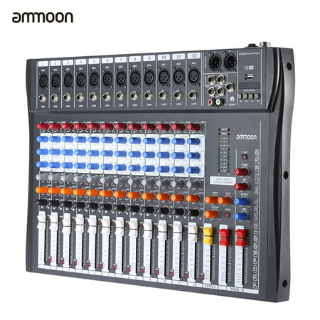 4 Channel Microphone Mixer (ammoon 120S-USB 12 Channels Mic Line Audio Mixer Mixing Console USB XLR Input 3-band EQ 48V Phantom Power with Power Adapter)