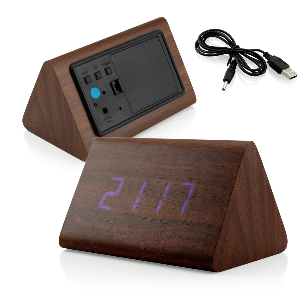 Modern Triangle Wood LED Wooden Alarm Digital Desk Clock Thermometer Classical Timer Calendar  - Brown (Blue Light)