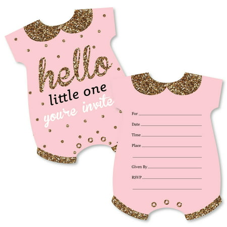 Hello Little One - Pink and Gold - Shaped Fill-In Invitations - Girl Baby Shower Invitation Cards with Envelopes-12 Ct