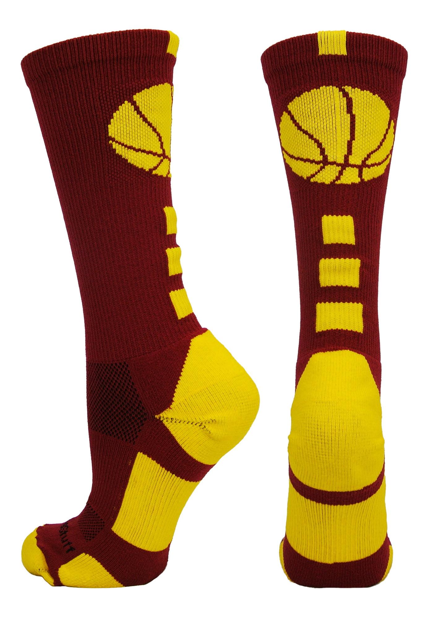 Basketball Logo Crew Socks (Royal/Gold, Large) - Royal/Gold,Large