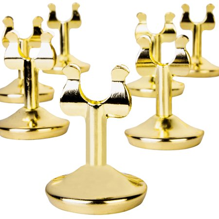 Koyal Wholesale Classic Gold Metal Harp Wedding Place Card Holder Clips, Set of 12 Harp Clip Menu Holders, Table Number