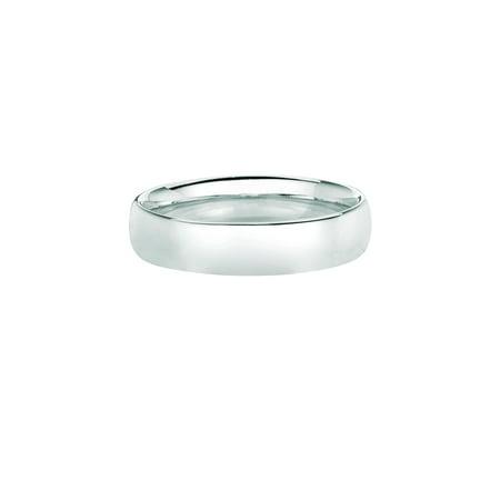 14K White Gold Men's Women's 5MM Comfort Fit Wedding Band Wedding Ring Size