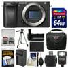 Sony Alpha A6300 4K Wi-Fi Digital Camera Body with 64GB Card + Case + Flash + Battery & Charger + Grip + Tripod + Kit