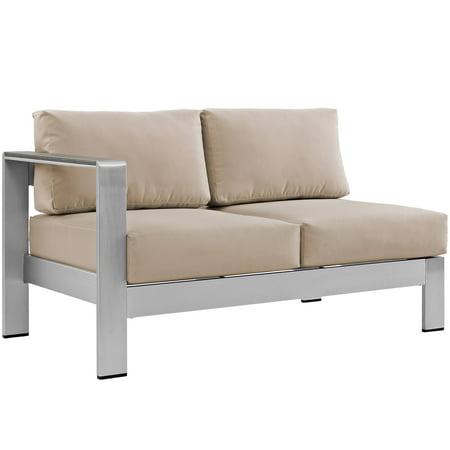 - Modern Contemporary Urban Design Outdoor Patio Balcony Left Arm Corner Sofa, Beige, Metal Aluminum
