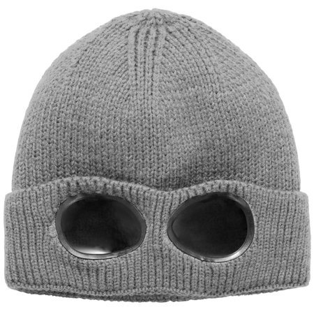 Hat With Goggles (Unisex Knit Beanie Hat with Goggle Chunky Winter Warm Hat Skull Cap 4)